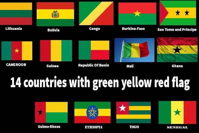 14 Países con bandera verde, amarilla y roja