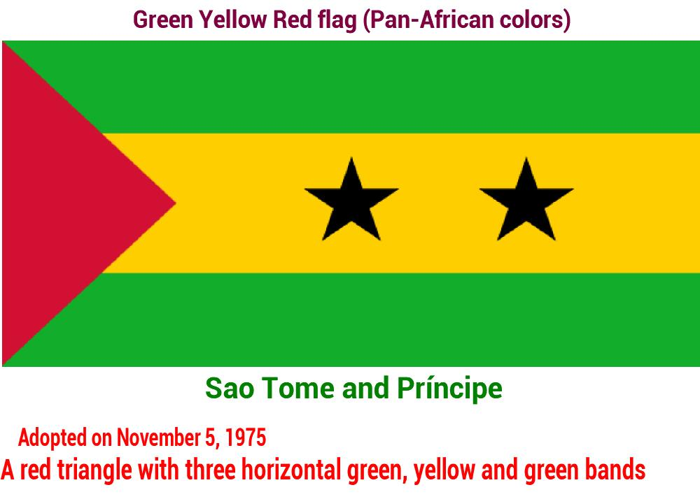 sao-tome-and-príncipe-green-yellow-red-flag-pan-african color