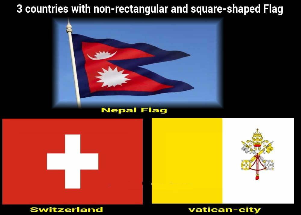 3 pays avec un drapeau non rectangulaire et de forme carrée