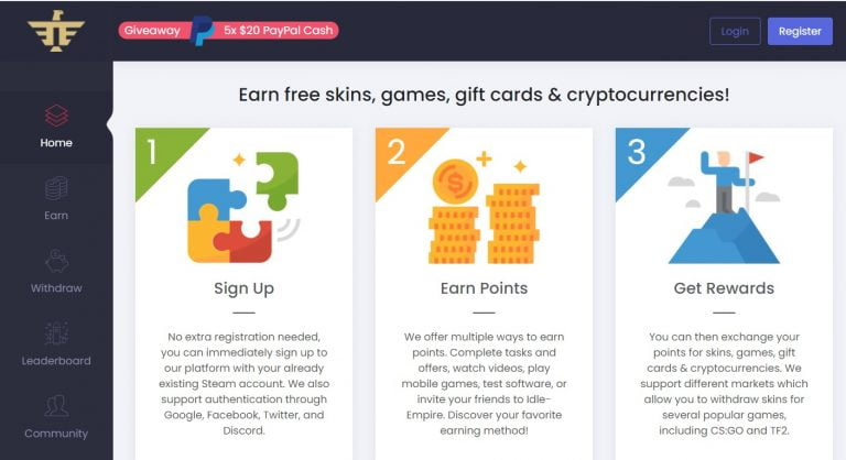 Idle-Empire Review: Earn free skins, games, gift cards & cryptocurrencies 100% free. (How it works, Payment, FAQ and Personal opinion)