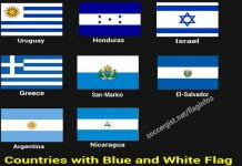 country with blue and white flag