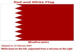 Bahrain-white-red-five-triangles-flag